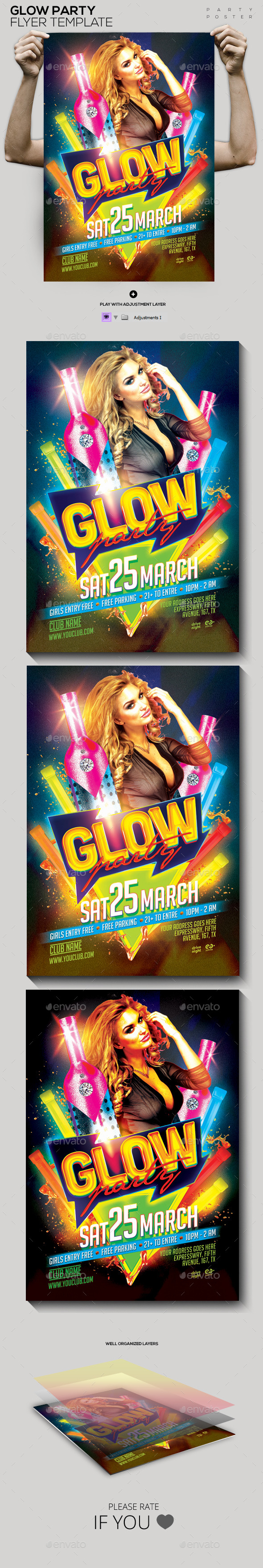 GraphicRiver Glow Party Template PSD Flyer Poster 10684106