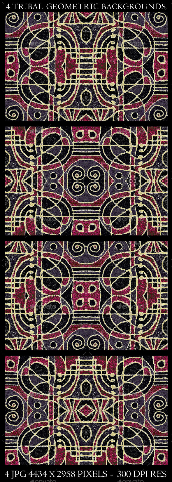 GraphicRiver 4 Tribal Geometric Art Background Patterns 10756489