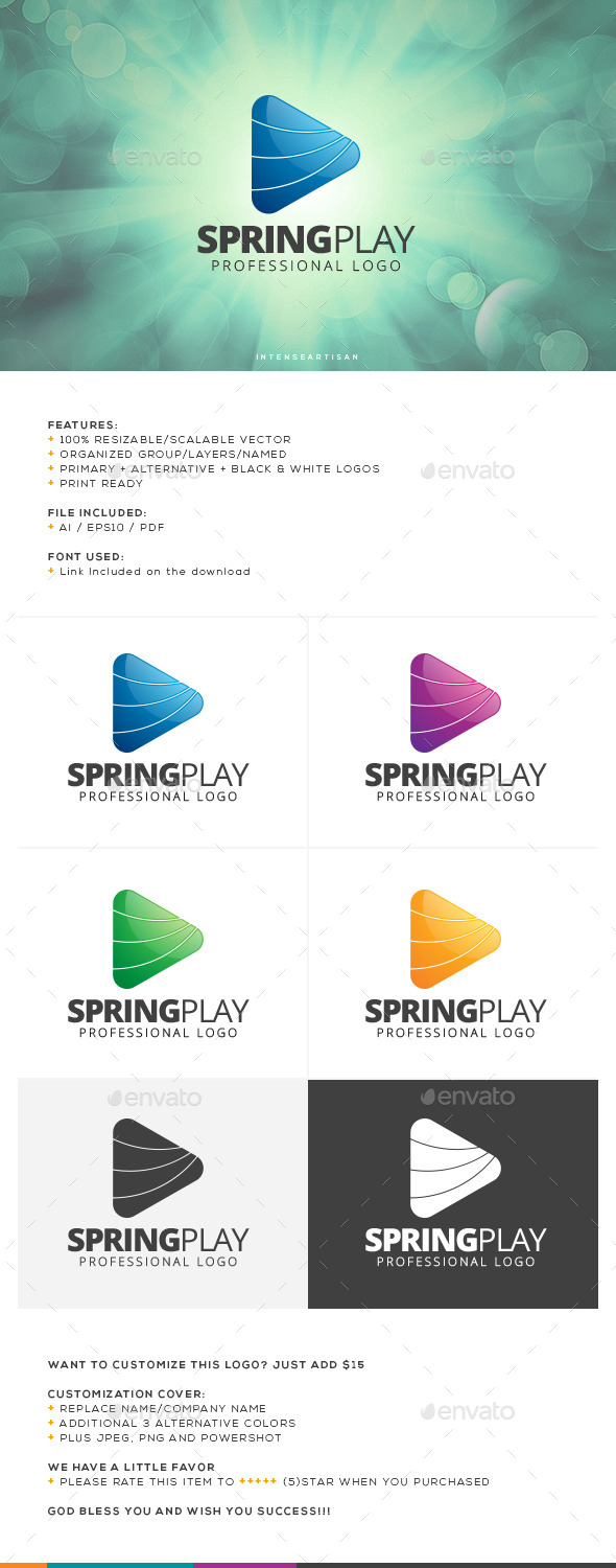 GraphicRiver Spring Play Logo Template 10756514