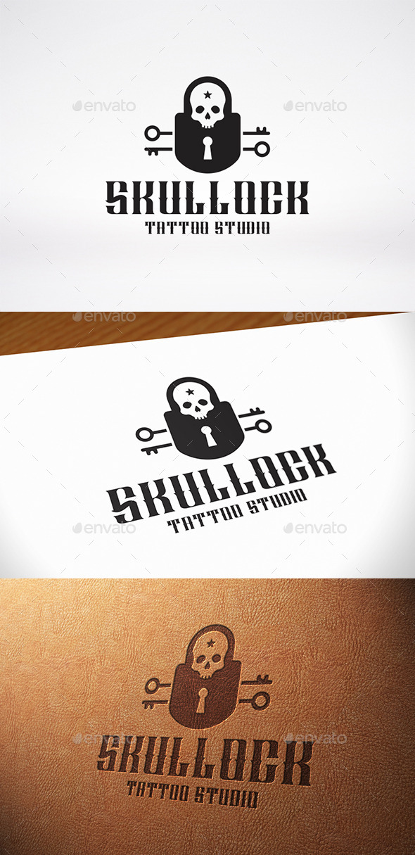 GraphicRiver Skull Lock Logo Template 10756543