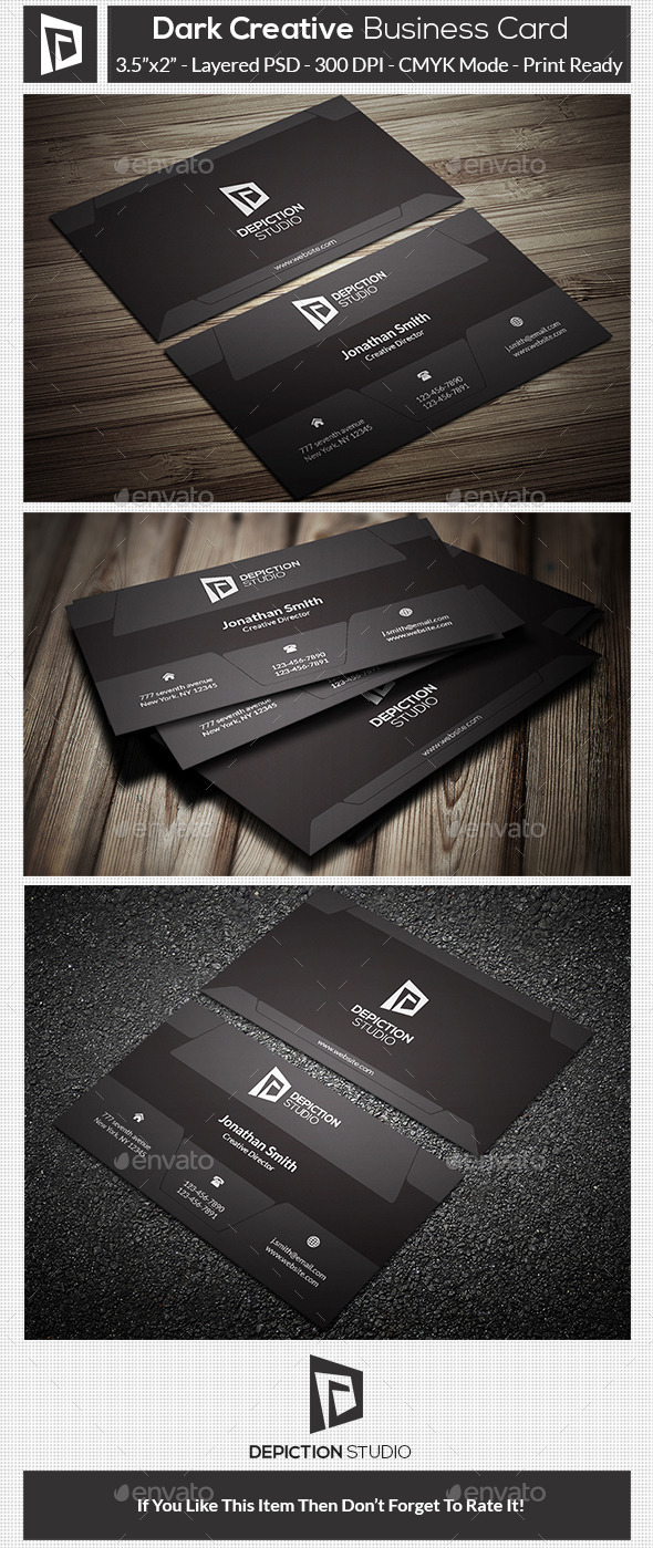 GraphicRiver Dark Creative Business Card 10756962