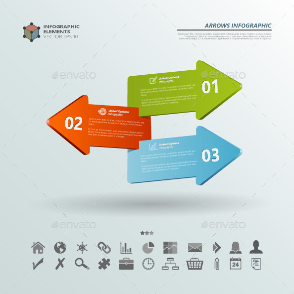 GraphicRiver Three Arrows Infographic Backgrounds 10722366