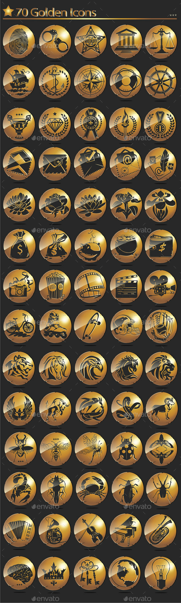 GraphicRiver 70 Golden Icons 10757668