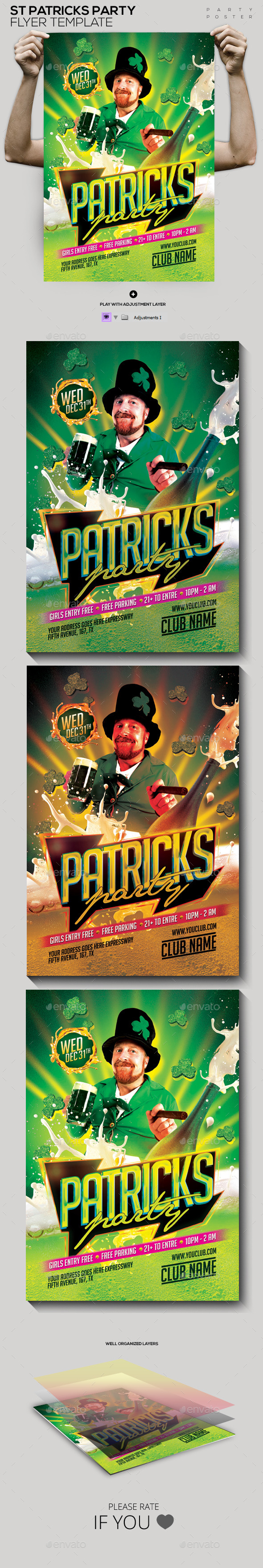 GraphicRiver St Patricks Party Template Flyer Poster 10685759