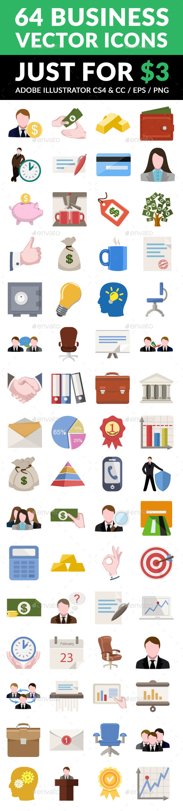 GraphicRiver 64 Business Icon Set 10758618