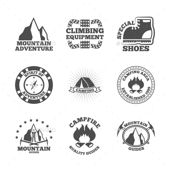 GraphicRiver Mountine Climber Labels Set 10759174