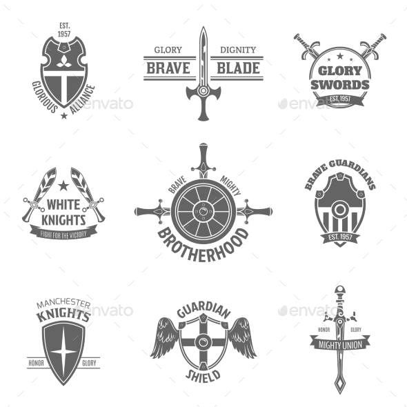 GraphicRiver Heraldic Coat of Arms Labels Set 10759196