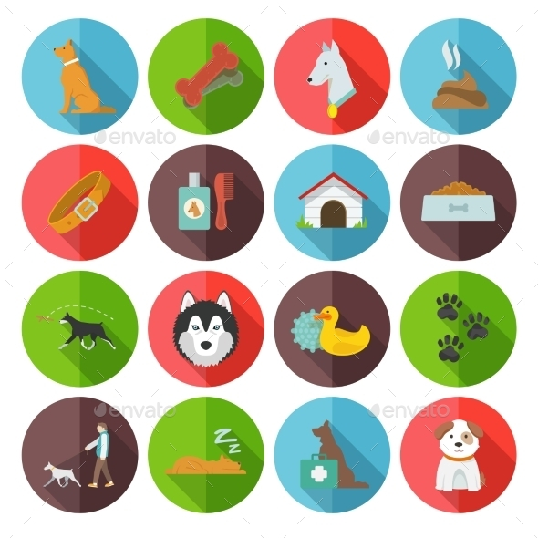 GraphicRiver Dog Icons Flat 10759303