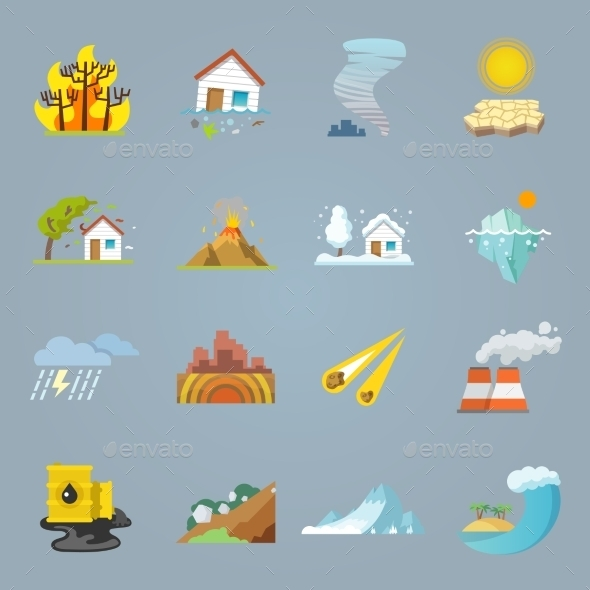 GraphicRiver Natural Disaster Icons Flat 10759312