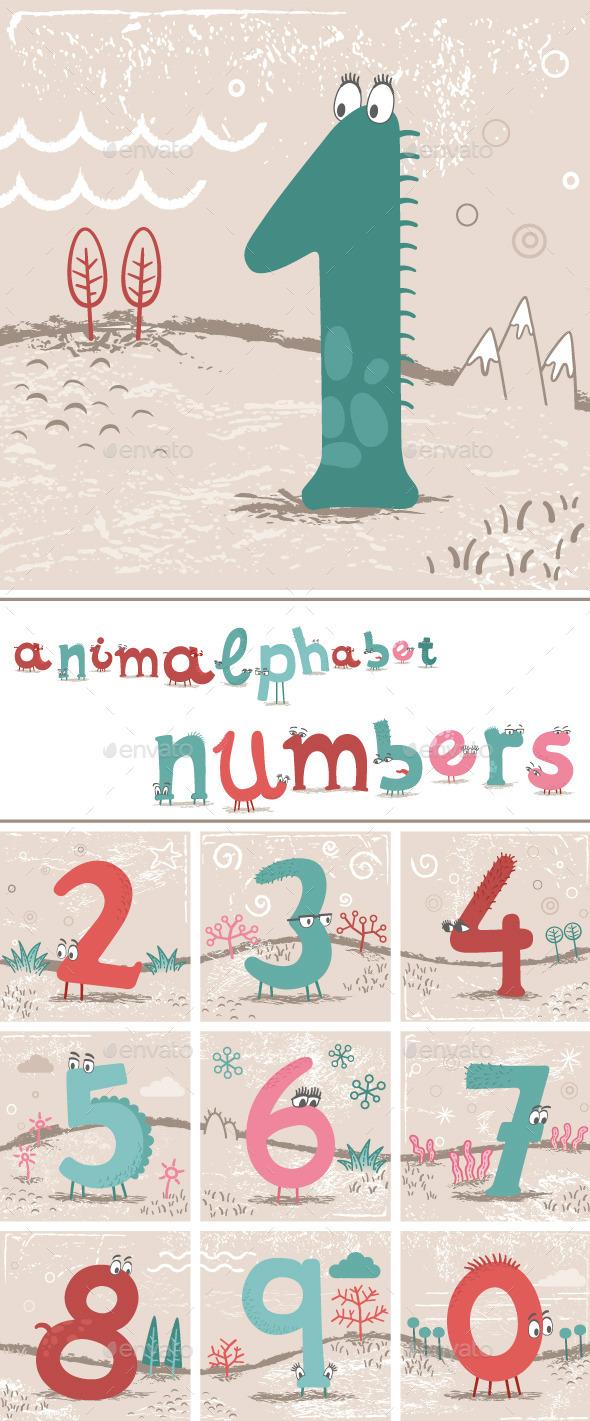 GraphicRiver Animalphabet Numbers 10759639