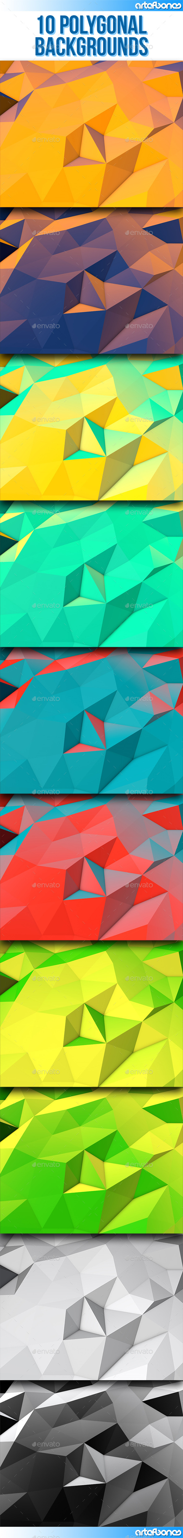 GraphicRiver 10 Polygonal Backgrounds 10759664