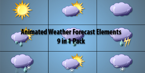 After Effects Project - VideoHive Animated Weather Forecast Elements 9 in 1 Pack 132460