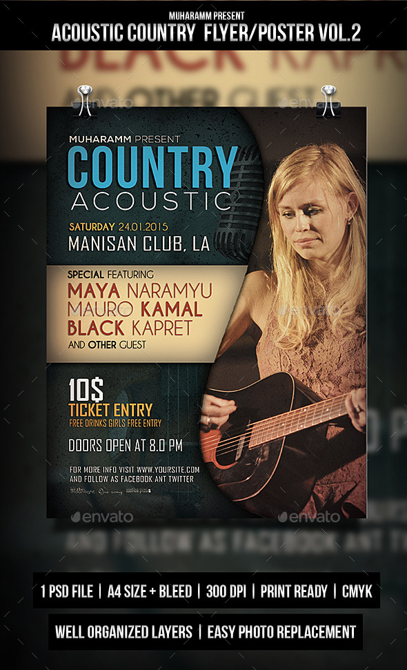 GraphicRiver Acoustic Country Flyer Poster V2 10760175