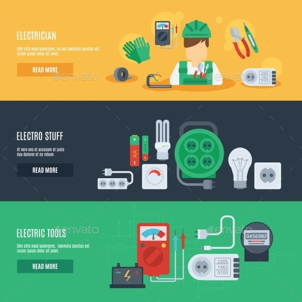 GraphicRiver Electricity Banner Set 10760328