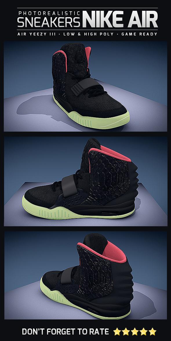 3DOcean Sneakers Nike Air Yeezy III Photorealistic 10760681