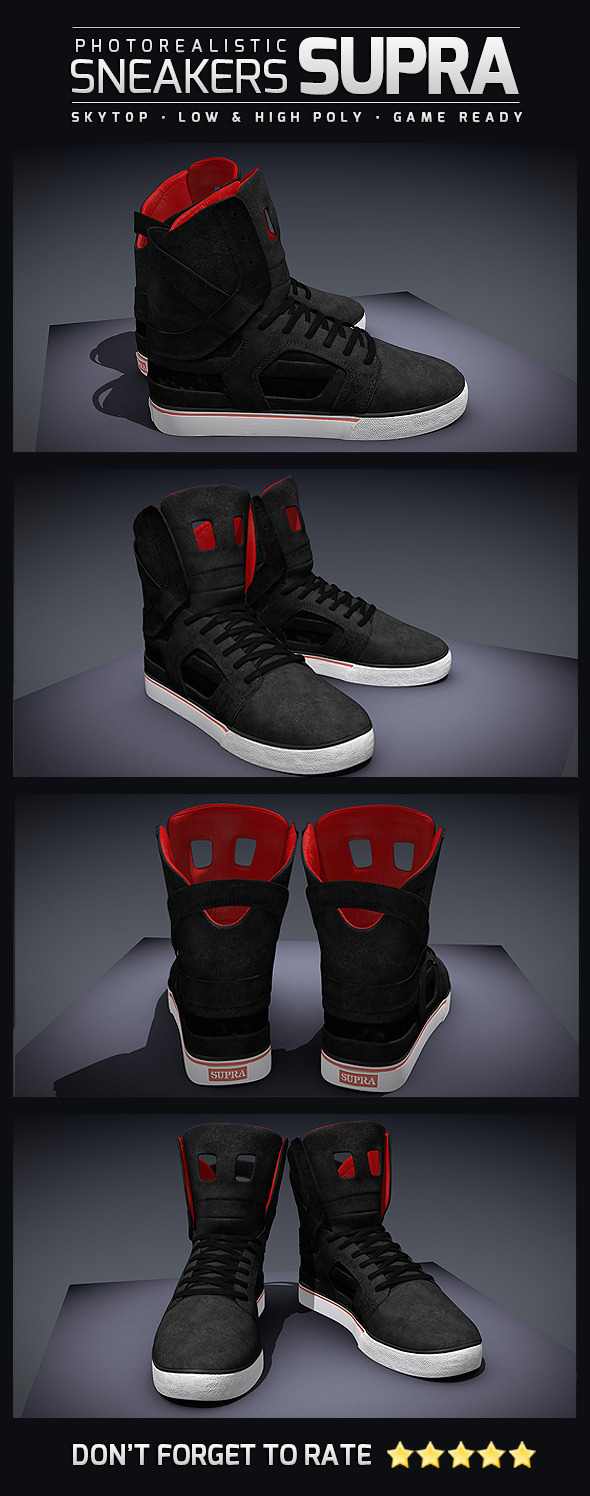 Sneakers Supra SkyTop II - Photorealistic - 3DOcean Item for Sale