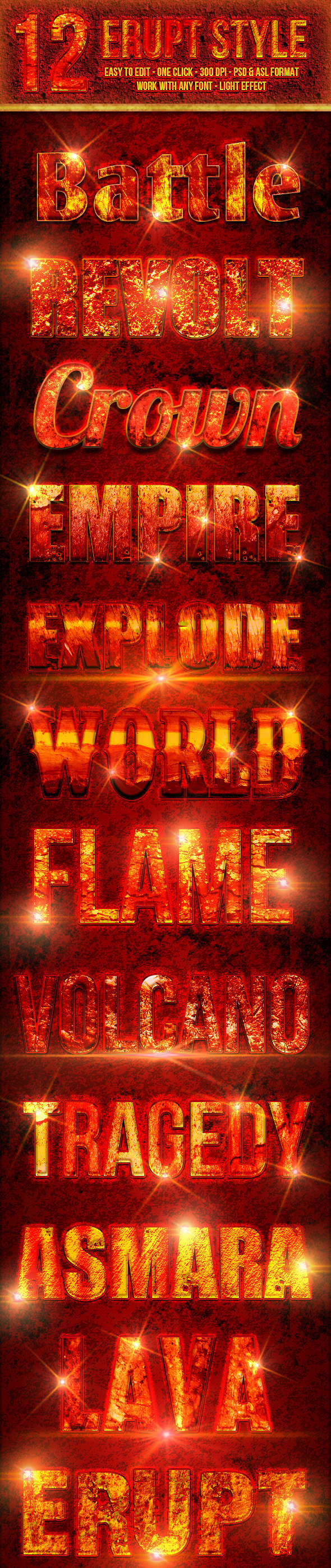 GraphicRiver 12 Erupt Photoshop Text Effect Styles 10760692