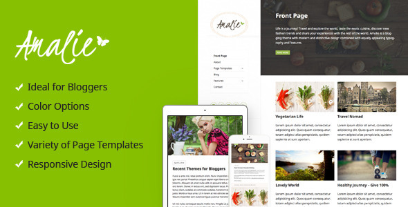 ThemeForest Amalie Modern Blogging WordPress Theme 10689808
