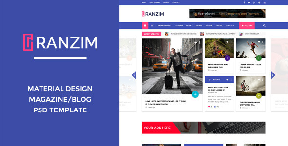 ThemeForest Ranzim Material Design Blog PSD Template 10760803
