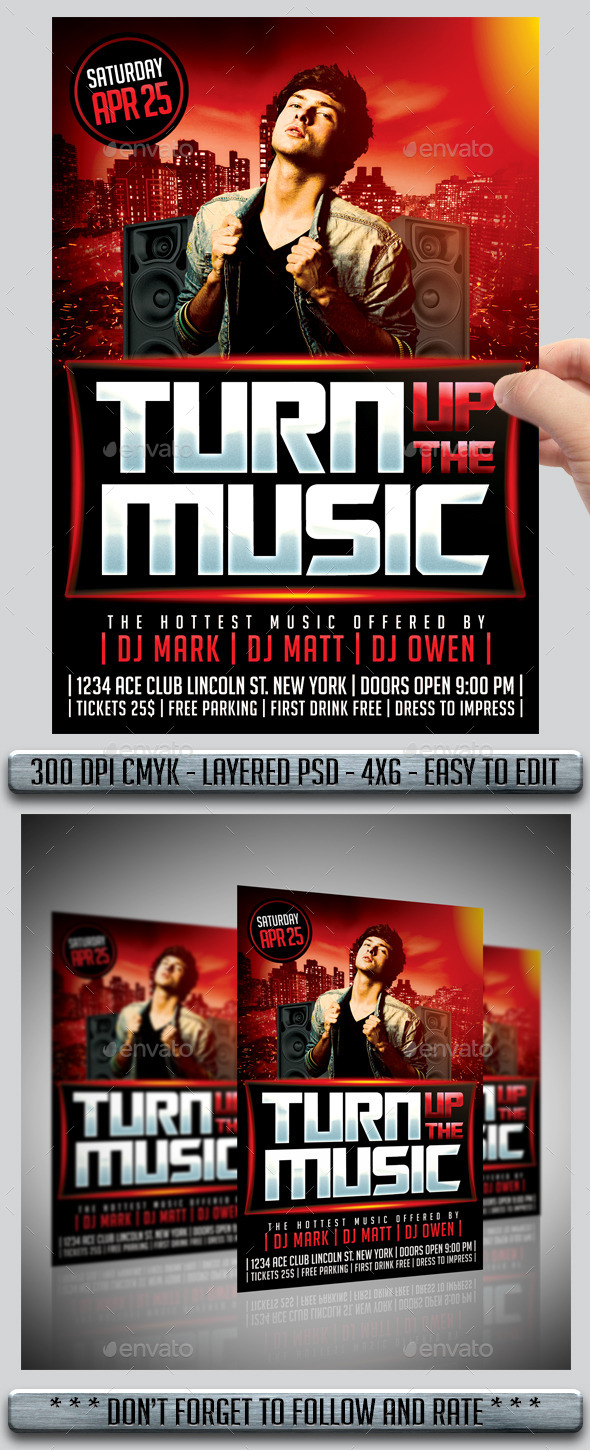 GraphicRiver Turn Up The Music Flyer 10760874