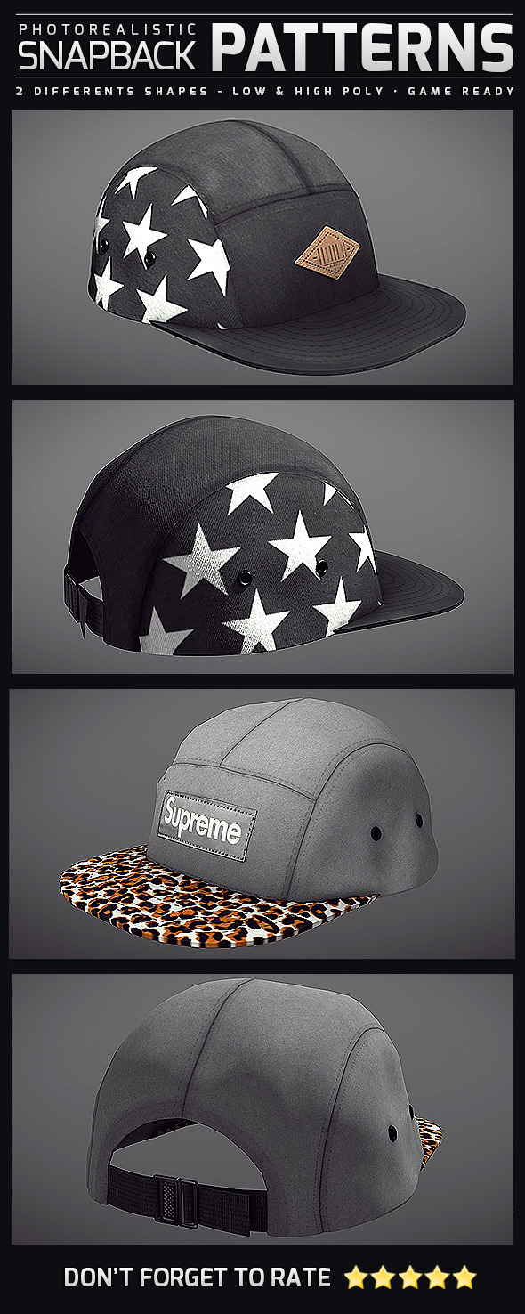 3DOcean Snapback Patterns Photorealistic 10760917