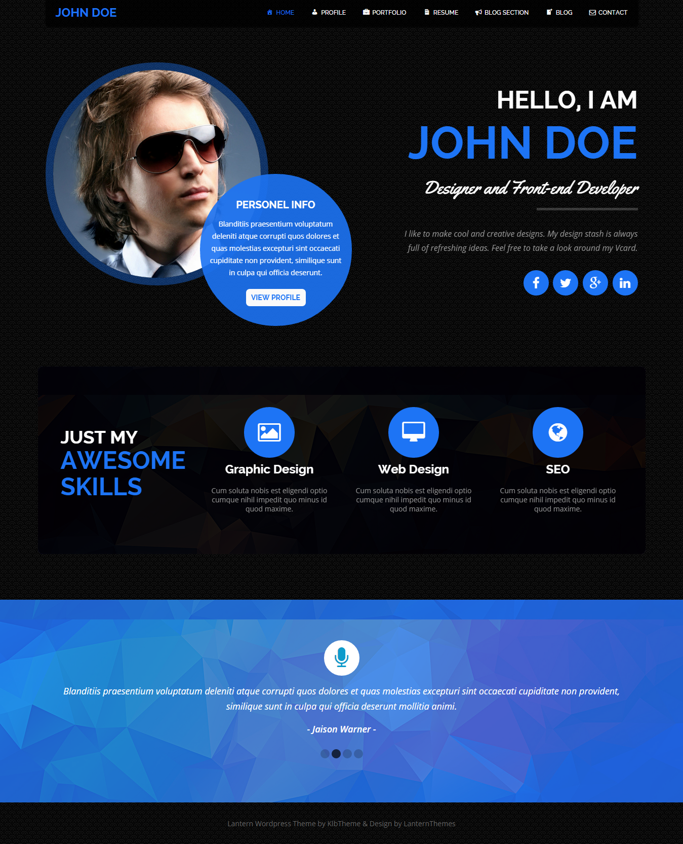 lantern personal resume and portfolio theme