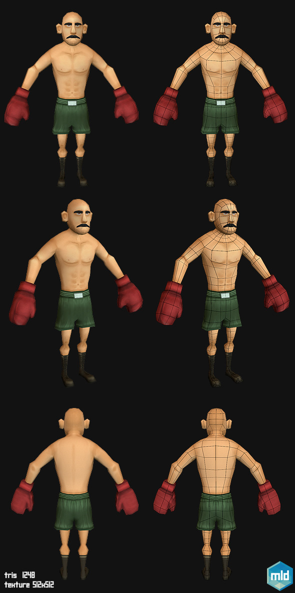 Low Poly Boxer Character - 3DOcean Item for Sale
