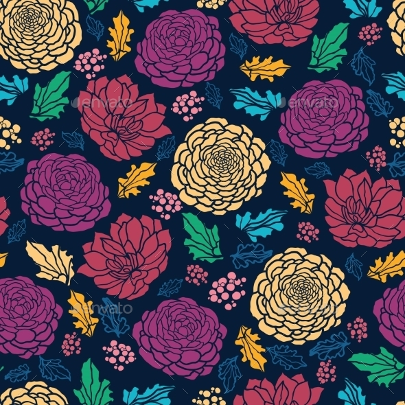 GraphicRiver Colorful Vibrant Flowers on Dark Seamless Pattern 10762007