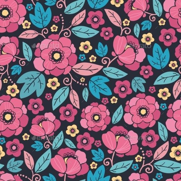 GraphicRiver Night Kimono Blossom Seamless Pattern Background 10762027