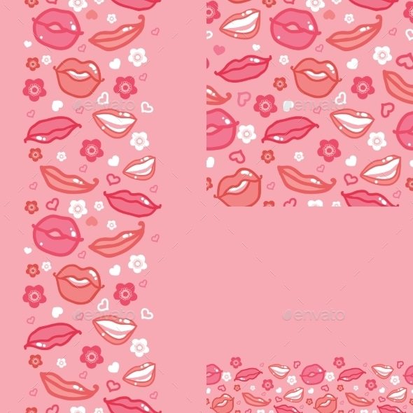 GraphicRiver Lips Set of Seamless Pattern 10762062