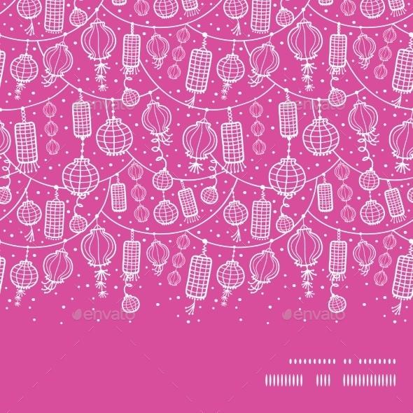 GraphicRiver Vector Holiday Lanterns Line Art Horizontal Frame 10762080