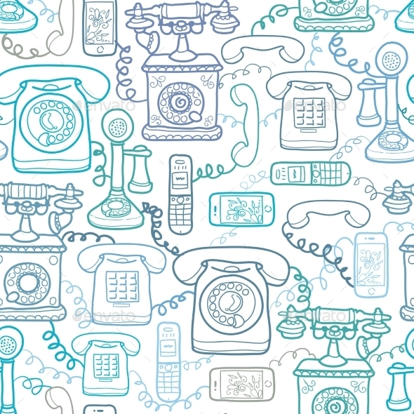 GraphicRiver Vintage and Modern Telephones Seamless Pattern 10762083