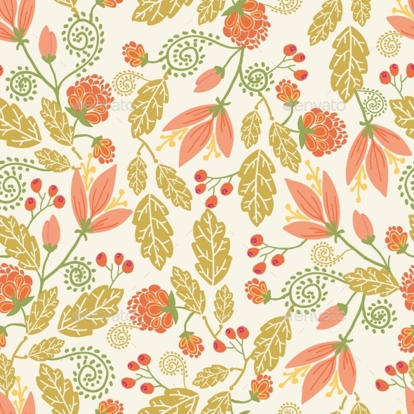 GraphicRiver Spring Flowers and Berries Seamless Pattern 10762087