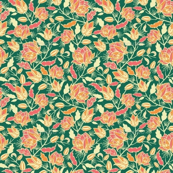 GraphicRiver Magical Flowers and Leaves Seamless Pattern 10762093