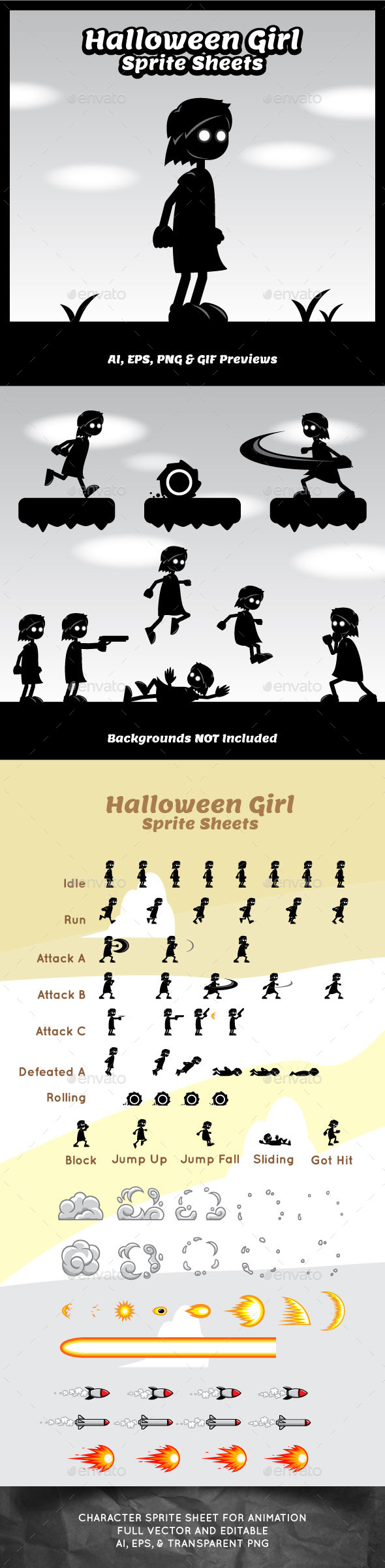 GraphicRiver Halloween Girl Game Character Sprite Sheets 10762933