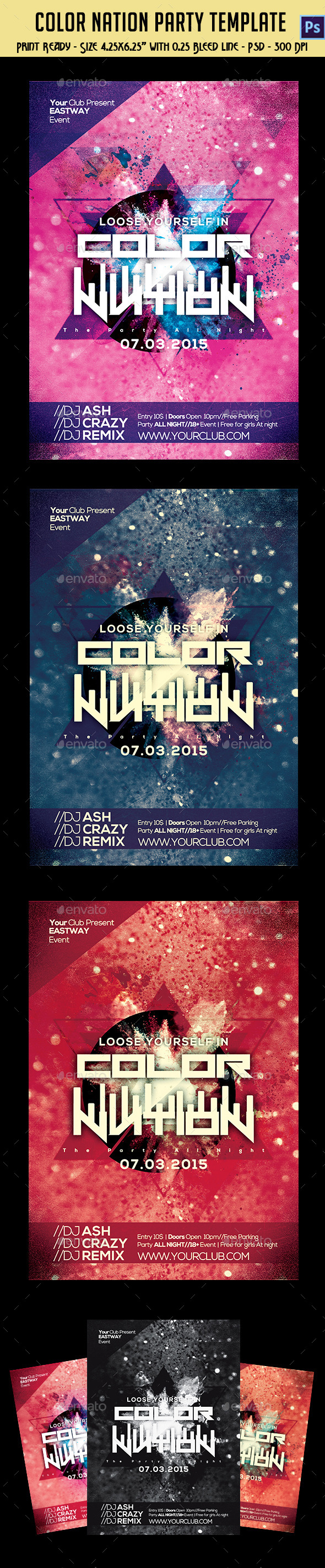 GraphicRiver Color Nation Party Flyer 10763221
