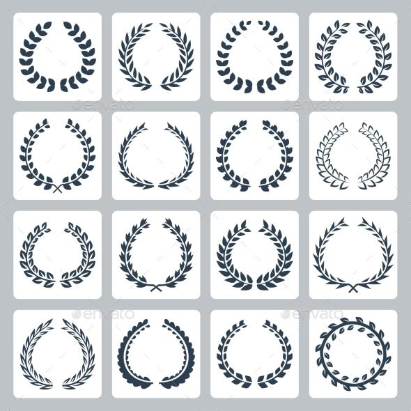 GraphicRiver Laurel Wreaths Icons Set 10763238