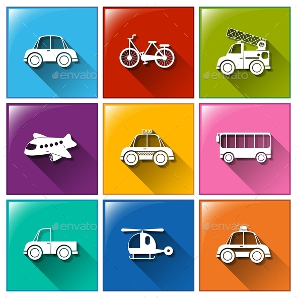 GraphicRiver Icons with Different Transportations 10763303