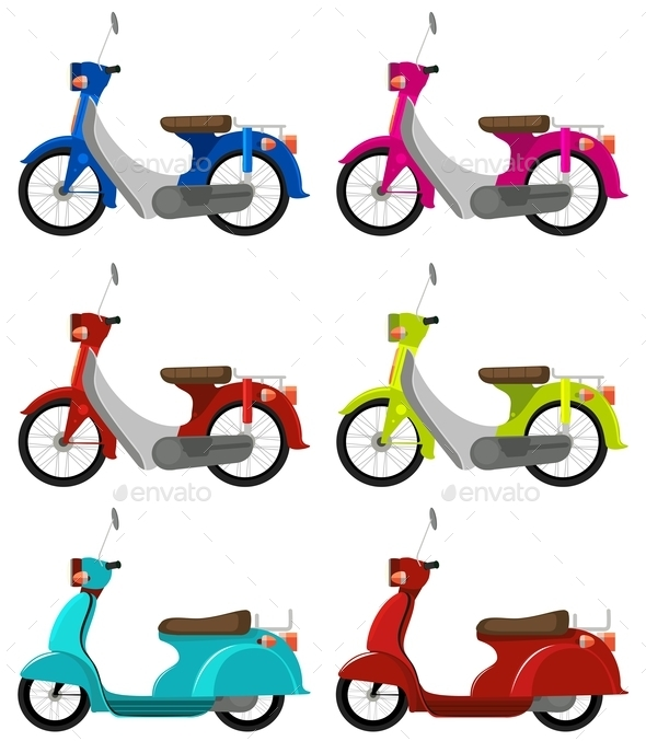 GraphicRiver Six Colourful Scooters 10763970