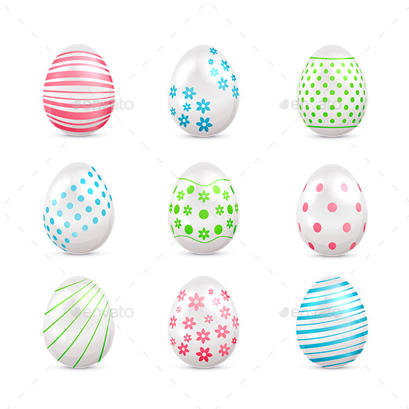GraphicRiver White Easter Eggs with Decorations 10764034