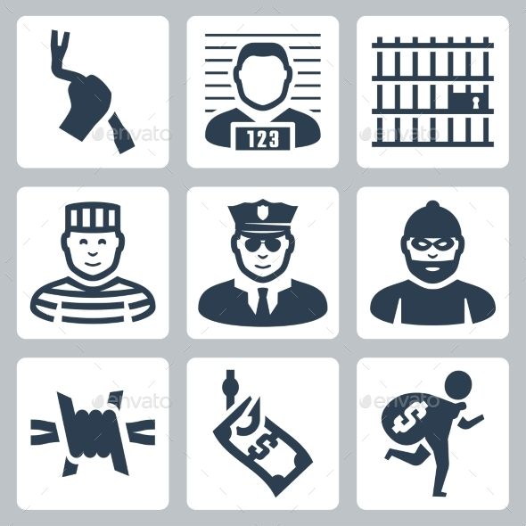 GraphicRiver Criminal and Prison Icons 10764035