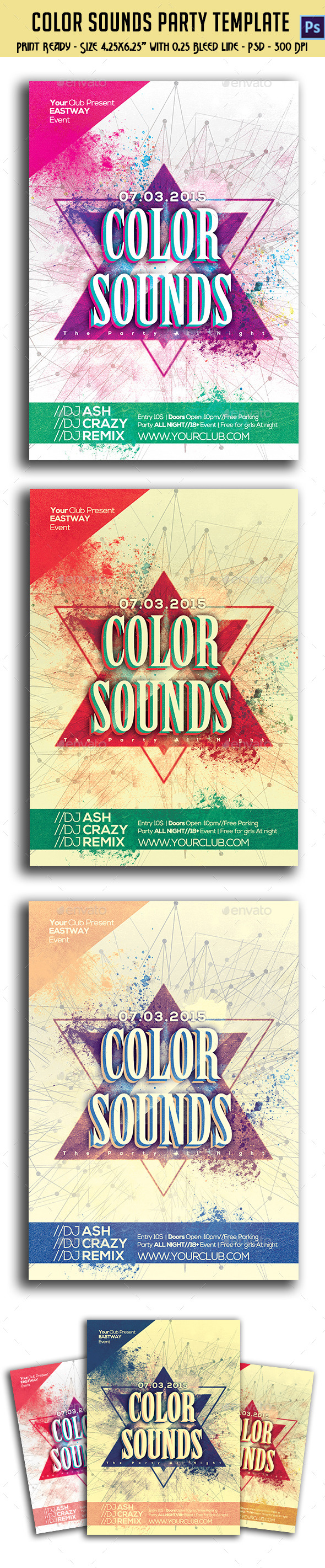 GraphicRiver Color Sounds Party Flyer 10764090