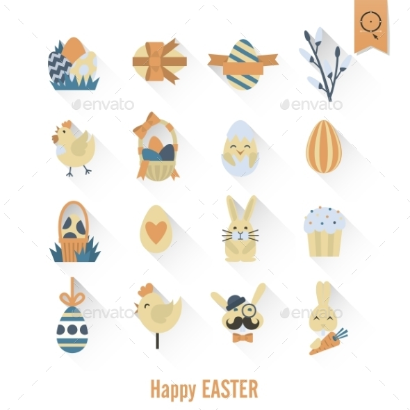 GraphicRiver Celebration Easter Icons 10764336
