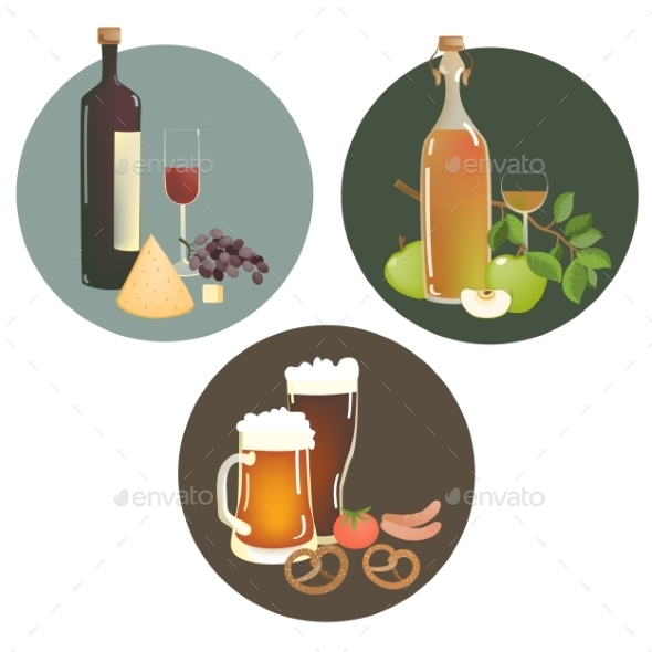 GraphicRiver Alcohol Beverages and Snacks 10764414