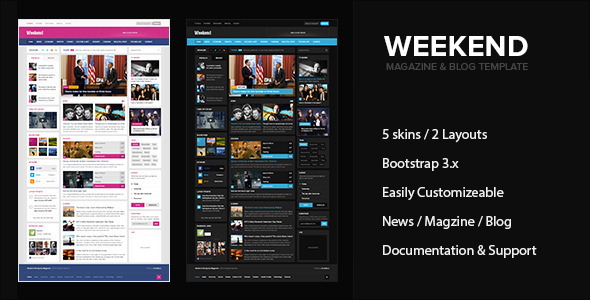 ThemeForest Weekend Magazine & Blog HTML Responsive Template 10650160
