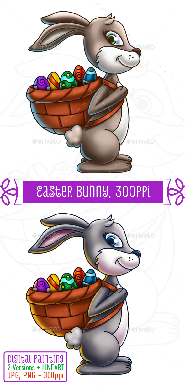 GraphicRiver Easter Bunny Carrying a Basket of Eggs 10752252