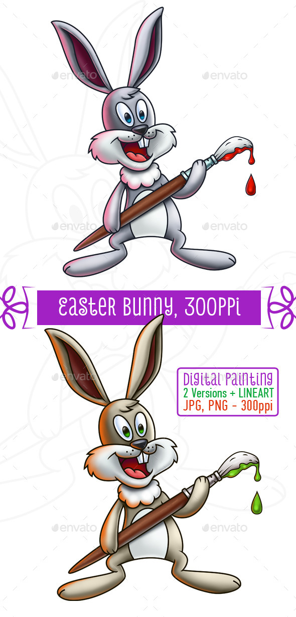 GraphicRiver Easter Bunny Holding Paintbrush 10752687
