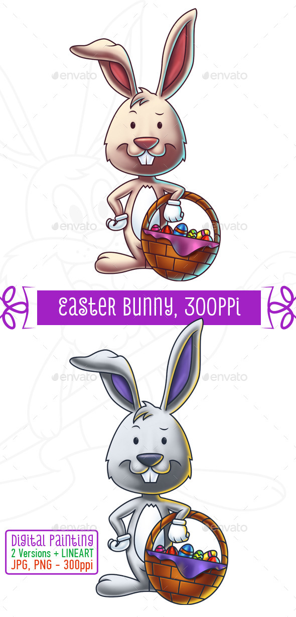 GraphicRiver Easter Bunny With a Basket of Eggs 10752919