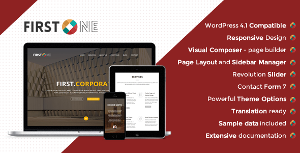 ThemeForest FirstOne Responsive OnePage WordPress Theme 10701251