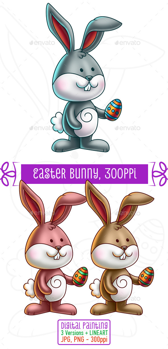 GraphicRiver Cute Bunny Holding an Easter Egg 10753446